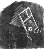 Abstraktní ručně nakreslený obrázek s korunou, okno, šachy