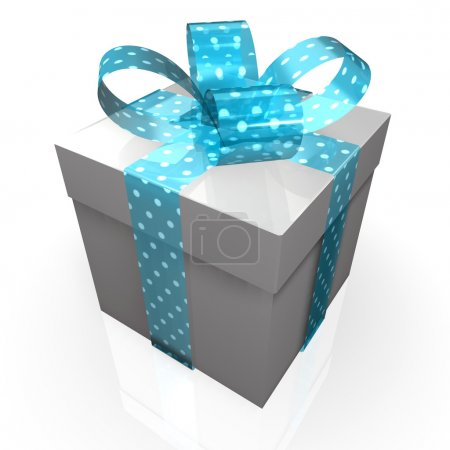 Gift with turquoise polka-dot ribbon