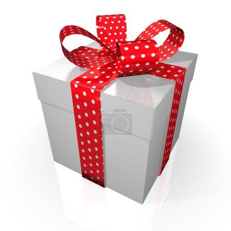 Gift with red polka-dot ribbon