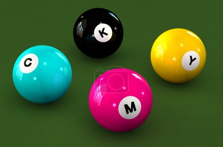 Billiard balls on a green background with letters CMYK