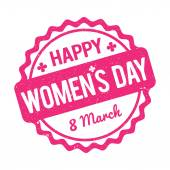 Happy Women's Day rubber stamp pink on a white background