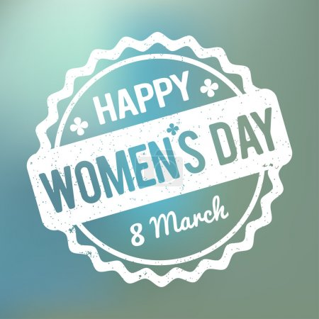 Happy Women's Day rubber stamp white on a blue bokeh fog background.