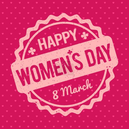 Happy Women's Day rubber stamp pink on a Retro pink background.
