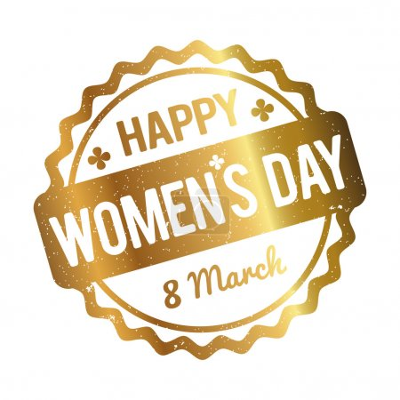 Happy Women's Day rubber stamp gold on a white background.