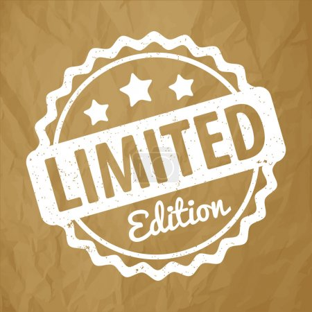 Limited Edition rubber stamp award vector white on crumpled paper brown background