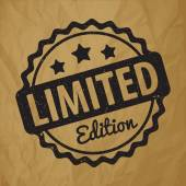 Limited Edition rubber stamp award vector black on crumpled paper brown background