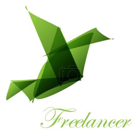 Ilustración de Origami de ave de Freelancer Logo verde - Imagen libre de derechos
