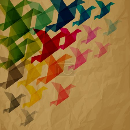 Collorful birds origami on crumpled paper brown background