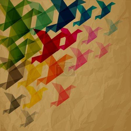 Ilustración de Collorful origami de aves sobre fondo de papel arrugado marrón - Imagen libre de derechos