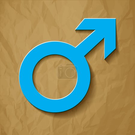 Male icon - Mars vector symbol with shadow blue on a crumpled paper brown background