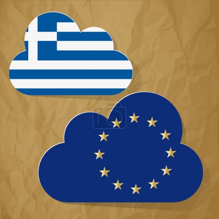 Flags of European Community and Greece as clouds on a crumpled paper brown background.