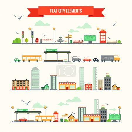 Photo for Great set with city elements for creating your own map. Map elements for your pattern, infographic, web site or other type of design. - Royalty Free Image