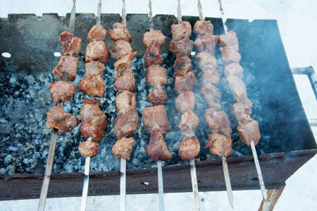 juicy kebabs on the grill