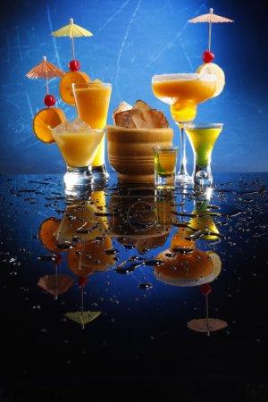 Cocktails on blue background