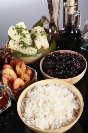 Traditional latin dishes on table