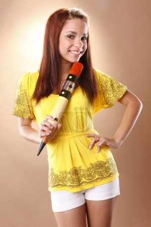 Photo for Cute teen girl with pencil - Royalty Free Image