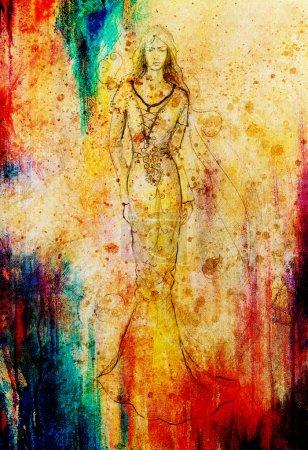 Photo pour Croquis d'une femme mystique en belle robe ornemental inspiré par le design du moyen age - image libre de droit