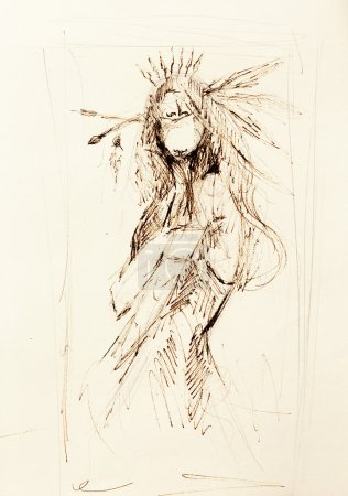 Pencil drawing on paper, indian woman  and feather...