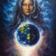 A beautiful oil painting on canvas of a woman godd...