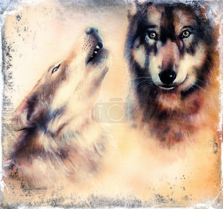 Howling Wolfs airbrush painting on canvas color background