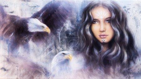 Obraz piękna aerografu czarujących twarz kobiety z dwóch latające orły