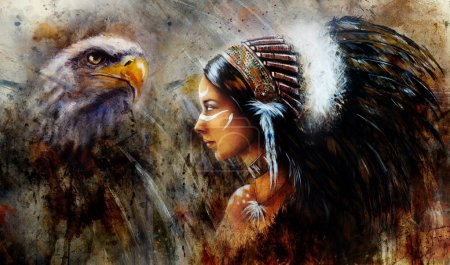 Beautiful mistic painting of a young indian woman wearing a big feather headdress, a profile portrait on structured abstract background