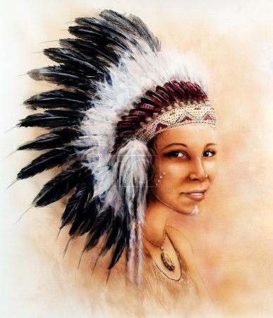 Beautiful  painting of a young indian woman wearing a gorgeous feather headdress, eye contact, make up artist