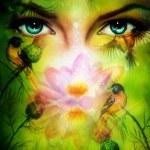 Beautiful illustration, blue goodness women eyes b...