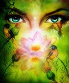 Schöne Abbildung blau Güte Frauen Augen strahlend bis bezaubernd hinter einem blühenden stieg Lotusblüte mit Vögeln auf mehrfarbigen Hintergrund Blickkontakt