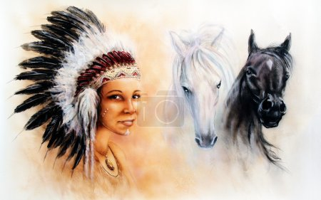 beautiful  painting of a young indian woman wearing a gorgeous feather headdress, with an image of of black and white  horse, illustration, eye contact