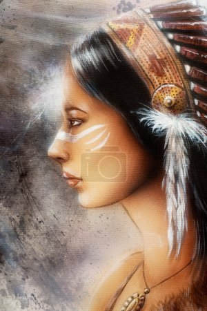 Airbrush painting of a young indian woman, profile portrait