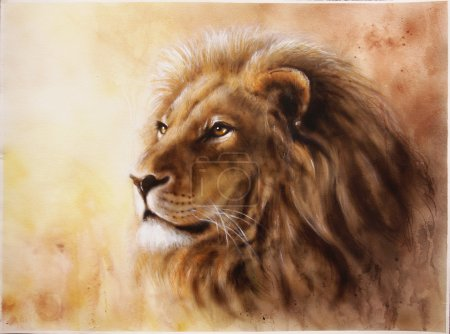 A beautiful airbrush painting of a lion head with a majesticaly peaceful expression