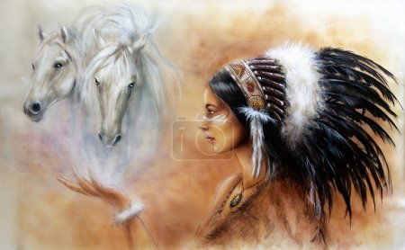 beautiful airbrush painting of a young indian woman wearing a gorgeous feather headdress, with an image of two white horse spirits hovering above her palm
