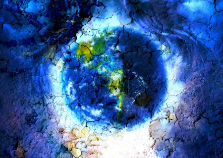 Painting planet Earth in outer space. with structure crackle background effect.
