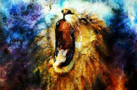 painting of a mighty roaring lion emerging from an abstract desert pattern, pc collage
