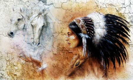 Painting of a young indian woman wearing a gorgeous feather headdress, with an image of two white horse spirits hovering above her palm, Crackle structure