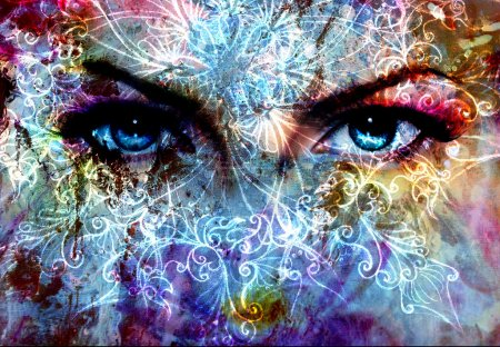 Women eyes and  crackle effect and white  ornament...