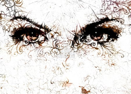 Women eyes and  crackle effect and ornaments on wh...