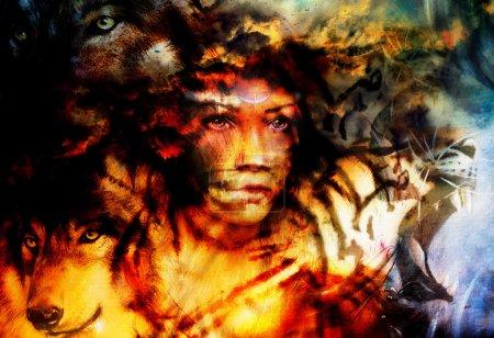Photo pour Portrait de femme avec tigre et loup, collage peinture couleur . - image libre de droit