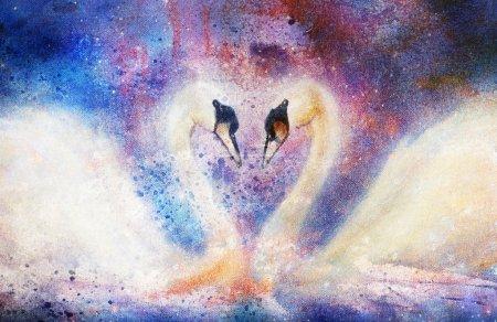 Photo pour Romantique deux cygnes sur fond de structure abstraite - image libre de droit