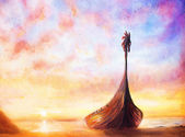 "Постер, картина, фотообои ""Викинг лодку на пляже, живопись на холсте, лодка с деревянный Дракон."""