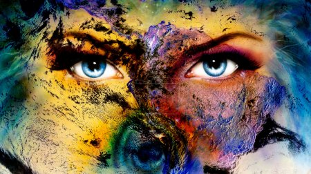 Planet Earth and blue human eye with violet and pink day makeup. woman eye painting.