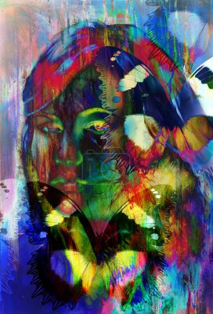 Woman angelic face and a butterfly. Structure and color Collage art