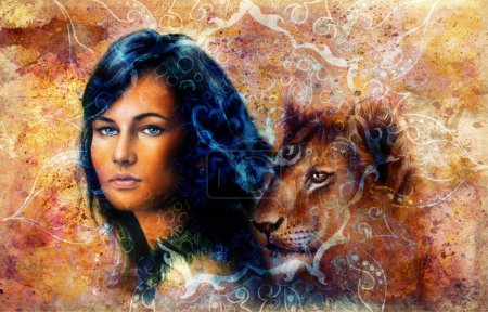 Young woman and lion cub. Woman Portrait with long dark hair and blue eye, color painting with oriental ornamental mandala. eye contact