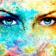 Blue goddess women eye, multicolor background with...