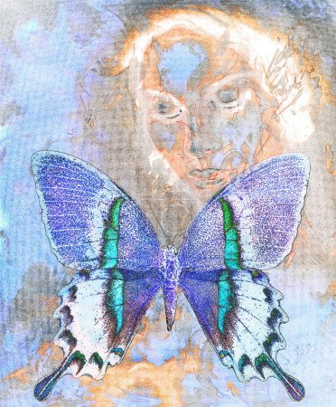 Photo pour Femme et papillon de couleur, médium mixte, fond de couleur abstrait - image libre de droit