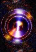 Audio hudba reproduktor s barevný efekt. Kosmický prostor a hvězdy, abstraktní pozadí, prostor hudba, hudební koncept