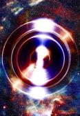 Audio hudba reproduktor s barevný efekt. Kosmický prostor a hvězdy, abstraktní pozadí. vesmírné hudby, hudební koncept