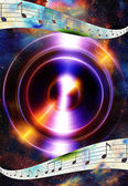 Music note and silhouette music speaker and Space with stars. abstract color background. Music concept.