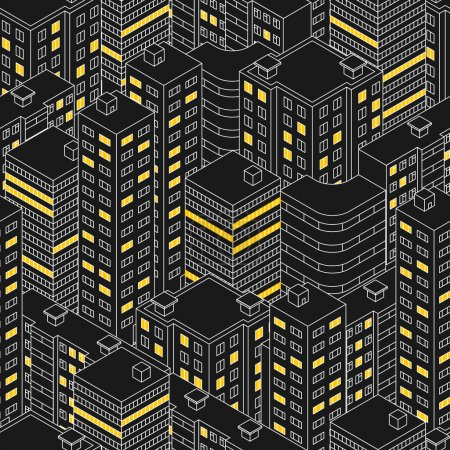 Illustration for Abstract black seamless pattern. Isometric building at night.  Linear style. The outlines of skyscrapers. Houses with Windows. Light in the Windows. City street. Vector illustration. - Royalty Free Image